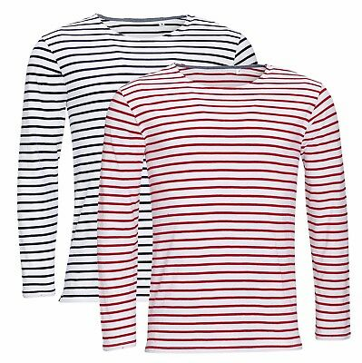 Mens Mans BLUE or RED and WHITE Stripey Striped Long Sleeve Stripe T-Shirt