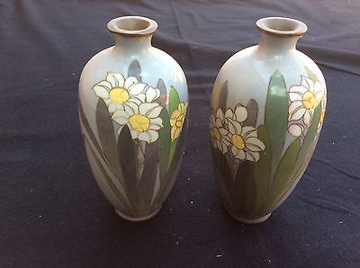 Matched Pair Japanese Meiji Period Thin Wire Cloisonné Vases