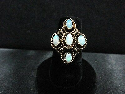 Ladies Vintage Classic Estate 14K Yellow Gold Opal Statement Ring Size 6 1/2