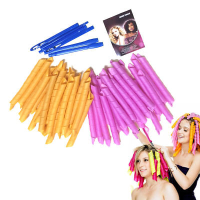 55CM 40PCS DIY Hair Curlers Rollers Styling Spiral Ringlet Hairband Tool Set UK