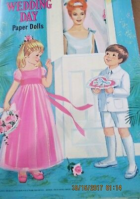 Vintage ORIGINAL 1970 WEDDING DAY Paper Dolls SAALFIELD #1246 NEAR MINTUncut