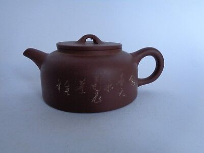 Antique  Chinese Yixing Pottery Teapot Calligraphy  no reserve price