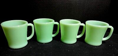 Lot of 4 Fire King Jadeite D Handle Coffee Mugs - All say Fire King Oven Ware