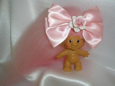 """Vintage Dam Troll Doll 1960's 2-5/8"""" ~ New Pink Mohair & Stardust Glass Eyes"""