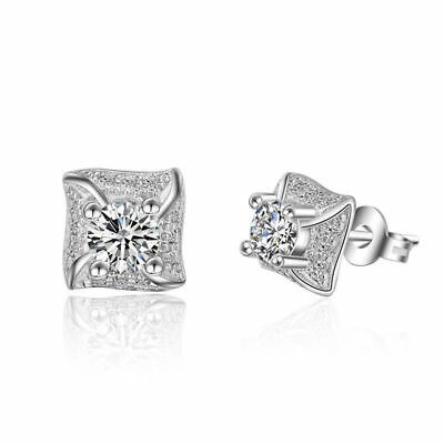 Fashion Jewelry 925 Sterling Silver Inlaid Natural Zircon Ear Stud Earrings