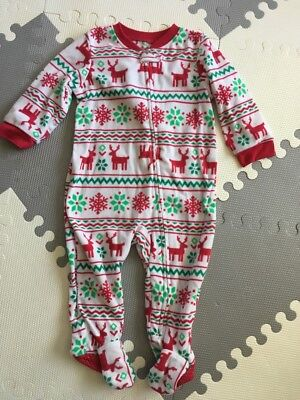 Carters Baby Christmas Fleece Pajamas 12 Months Great Condition
