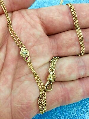 Vintage SIMMONS Gold Filled Pocket Watch Chain w/Slide