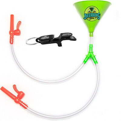 Large Double Beer Bong Funnel with Valve | Shotgun Key Chain | Green Funnel