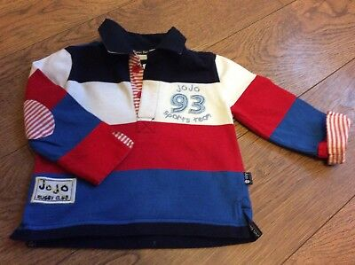 Jojo Maman Bebe 6-12 Months Rugby Shirt  Great Condition red white blue