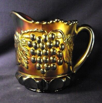 Northwood Grape and cable carnival glass creamer amethyst