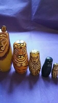 """Collectable wooden set of 5  """"Russian dolls"""" as big cats."""