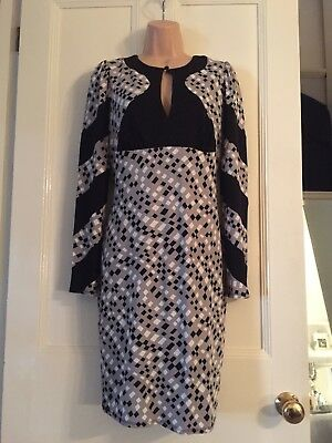 Ossie Clark ladies vintage style grey/black/white dress long sleeved size 14