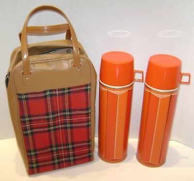 Vintage King Seeley Plaid 2 Thermos & Bag Complete Set Carry 1974