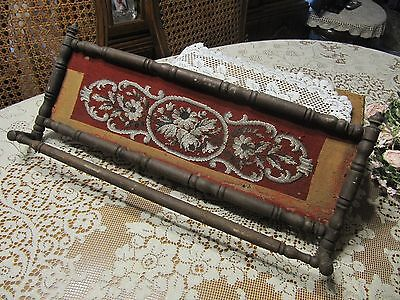 Antique/VTG Wood Towel Bar Victorian Towel Bar/Rack w/ Needlepoint? & Beads
