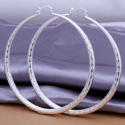 Beautiful fashion Jewelry Solid Silver Lady Big Circle Earrings new style