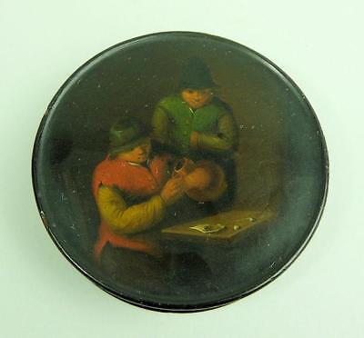 Antique Georgian Papier Mache Hand Painted Snuff Box C.1820