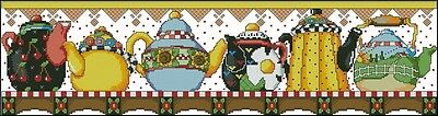 Teapot Table Runner - Cross Stitch Chart - Free Postage