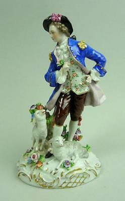 Antique Sitzendorf Porcelain Figure Of A Young Man With Sheep C.1910
