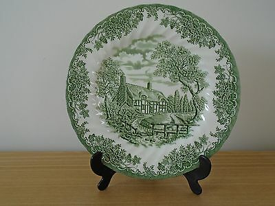Vintage Myott The Brook  Green and White 25cm Dinner Plate