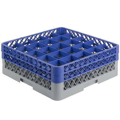 NEW 25-Compartment Full-Size Plastic Glass Rack with 2 Blue Extenders