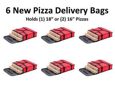"(6-Pack) 18"" x 18"" x 5"" Red Nylon Insulated Pizza Delivery Bags"