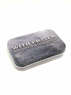 Tin Prayer Box with Memo Pad and Pencil - With Prayer Everything is Possible
