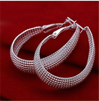 *solid 925silver jewelry Bling Large Hoop Earring Women Wear birthday gift