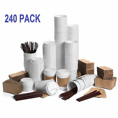 240 Pcs Pack Disposable Poly Paper Coffee Hot Cups with Lids Sleeve Stirrers