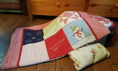 pottery barn christmas quilt set crib toddler