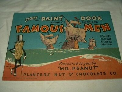 Original Uncolored 1935 Planters Peanut Story Paint Book America's Famous Men