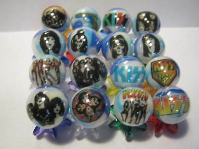 KISS GLASS MARBLES 5/8 SIZE collection lot + STANDS