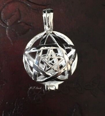 Pentagram Crystal Cage Locket 925 Sterling Silver Wicca Pagan Witch