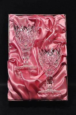 Pair Of Royal Doulton Crystal Cut Glass L/s Wine Glasses In The Rdc30 Pattern