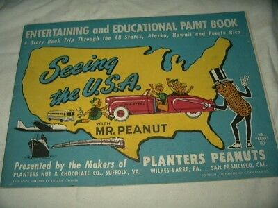 Original Uncolored 1950 Planters Peanut  Paint Book USA Trip Educational