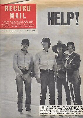 RECORD MAIL August 1965 BEATLES COVER & INSIDE Herman THE HOLLIES 3 pages photos
