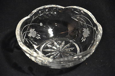 Royal Doulton Fuchsia Pattern Lead Crystal Cut Shallow Glass Dish Signed
