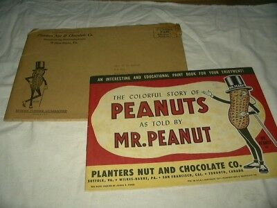 Original Uncolored 1957 Planters Peanut Paint Book Story Of Peanuts