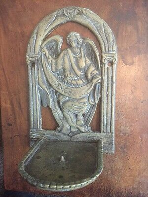 Rare Antique Wall Sconce Candle Holder Engraved Christ Figure & Peace
