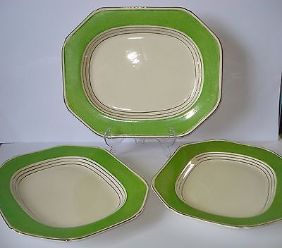 Rare Art Deco - Vintage Tams Ware Green Deluxe  - 3 Serving Plates