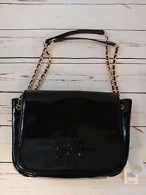 a2ac0d86587  495 Nwt Tory Burch Charlie Bag Patent Leather Small Flap Chain Shoulder  Black