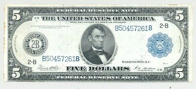 $5 Series 1914 Federal Reserve Note high grade and no problems (almost)
