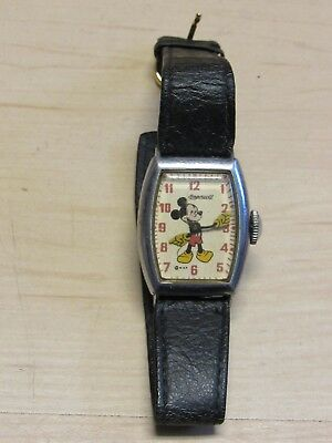 Vintage Mickey Mouse Ingersoll Us Time Wrist Watch Working