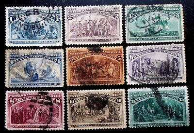 Buffalo Stamps, Scott #230-238 Columbus Expo, F/VF-XF and Better, CV = $200+