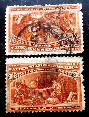 Buffalo Stamps, Scott #239 x2 Columbus Expo Space-Fillers, CV = $200