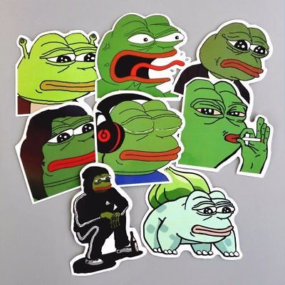 8 pcs Pepe the Frog Decal Stickers Lot Internet Meme Art Design Car Sticker