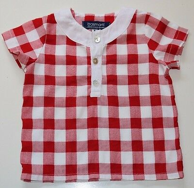 Basmarti- Spanish Vintage- White Red Gingham Soft Cotton Blouse- Girl 6 Months