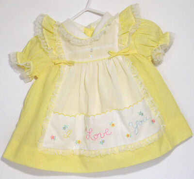Yellow Swiss Dot Lace I Love You Embroidery Baby Dress 6-9 M Vintage Reborn Doll