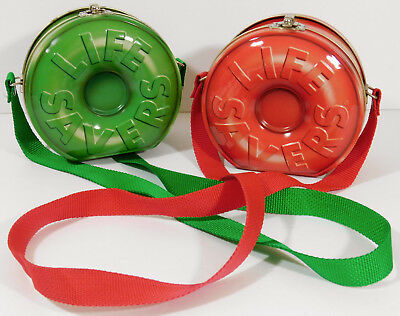 VINTAGE RED & GREEN LIFESAVERS TIN PURSE with Strap Set o 2 Holiday