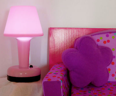 """CHAIR to FOLD OUT BED & WORKING cordless PINK LAMP fits 18"""" American Girl Doll"""