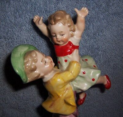 SWEET! Vintage Antique German Porcelain Playful Sister & Brother Figurine~MARKED